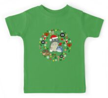 Christmas Totoro in Lighter Grey - Holiday, Xmas, Presents, Peppermint, Candy Cane, Mistletoe, Snowflake, Poinsettia, Anime, Catbus, Soot Sprite, Blue, White, Manga, Hayao Miyazaki, Studio Ghibl Kids Tee
