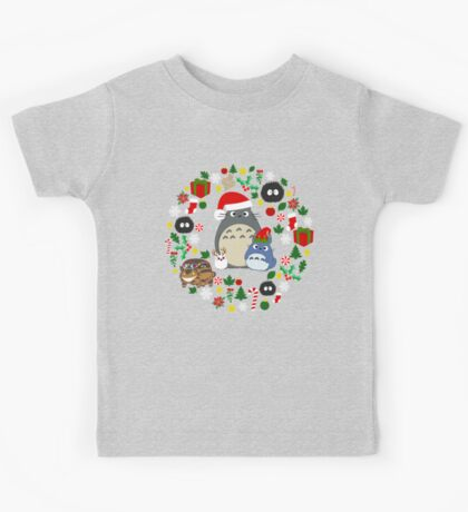 Christmas Totoro in Lighter Grey - Holiday, Xmas, Presents, Peppermint, Candy Cane, Mistletoe, Snowflake, Poinsettia, Anime, Catbus, Soot Sprite, Blue, White, Manga, Hayao Miyazaki, Studio Ghibl Kids Tee