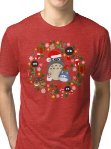 Christmas Totoro in Lighter Grey - Holiday, Xmas, Presents, Peppermint, Candy Cane, Mistletoe, Snowflake, Poinsettia, Anime, Catbus, Soot Sprite, Blue, White, Manga, Hayao Miyazaki, Studio Ghibl Tri-blend T-Shirt