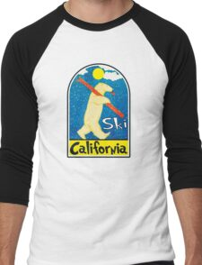 SKI CALIFORNIA VINTAGE POLAR BEAR SKIING BIG BEAR TAHOE MAMMOTH MOUNTAIN Men's Baseball ¾ T-Shirt