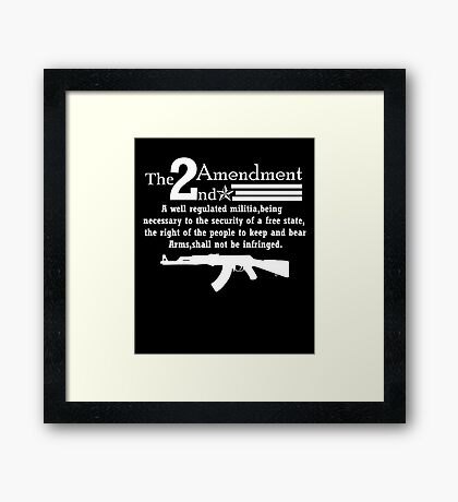Cool 2nd Amendment Guns white Framed Print