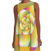 Yellow Pink and Green Spiral A-Line Dress