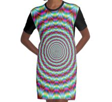 Alternate Rings in Turquoise and Red Graphic T-Shirt Dress