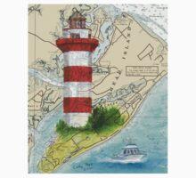 Hilton Head Lighthouse SC Nautical Chart Peek One Piece - Short Sleeve