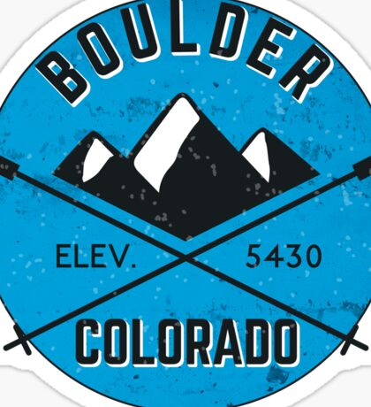 BOULDER COLORADO Ski Skiing Mountain Mountains Skiing Crossed Skis Snowboard Snowboarding Sticker