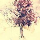 Vintage Watercolor Fall Tree by susanwellington