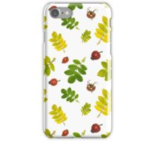 Green and yellow leaves and red rose hips  iPhone Case/Skin