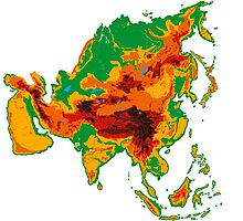 Asia Topographical Map Photographic Print