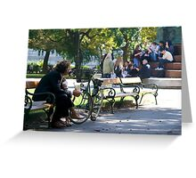 People on a park bench, Vienna Greeting Card