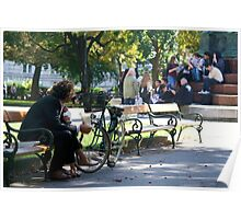 People on a park bench, Vienna Poster