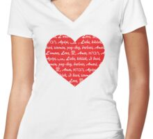 A heart and love in different languges Women's Fitted V-Neck T-Shirt