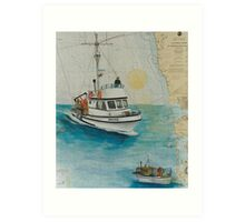 DREAMER Crab Boat Cathy Peek Nautical Chart Map Art Print