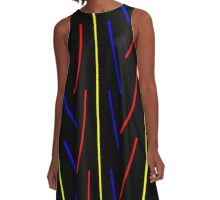 Simple Primary Color Lines A-Line Dress
