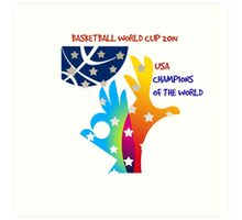 FIBA Official logo decorated with American symbols and text Art Print