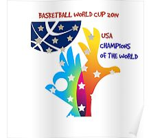 FIBA Official logo decorated with American symbols and text Poster