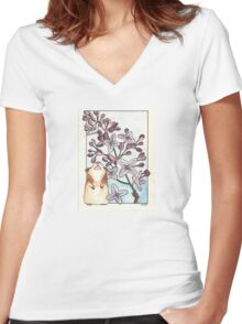 Hamster Under Lilac Women's Fitted V-Neck T-Shirt