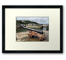Porthleven Harbour and Canon, Cornwall Framed Print