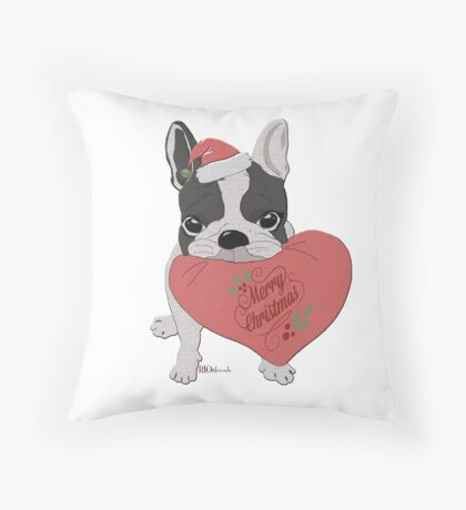 all i want for christmas is a frenchie-rio Throw Pillow