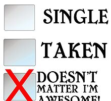 SINGLE TAKEN DOESN'T MATTER I'M AWESOME by grumpy4now
