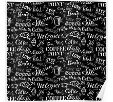 seamless doodle coffee pattern on black background Poster