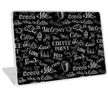 seamless doodle coffee pattern on black background Laptop Skin