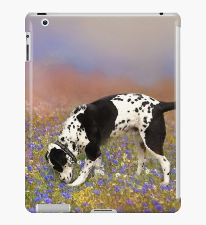 FLORAL FIELD WITH DOG iPad Case/Skin