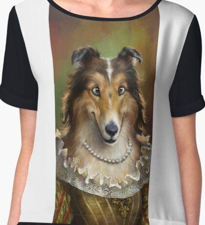 Collie, The Court Favorite Lady Dog Chiffon Top