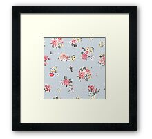 Modern,shabby chic, floral,flowers,roses,red,green,white,yellow,polka dots, grey blue, modern,trendy,vintage, Framed Print