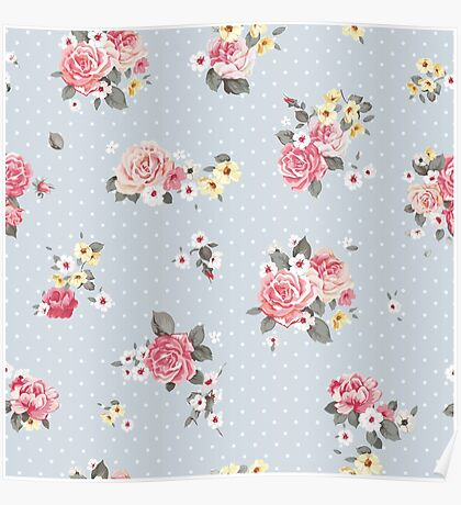 Modern,shabby chic, floral,flowers,roses,red,green,white,yellow,polka dots, grey blue, modern,trendy,vintage, Poster