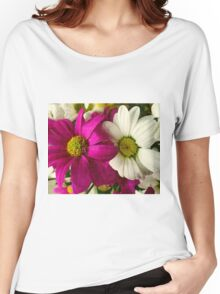 Two flowers: pink and white. Texture Women's Relaxed Fit T-Shirt