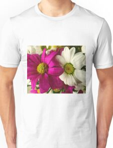 Two flowers: pink and white. Texture Unisex T-Shirt