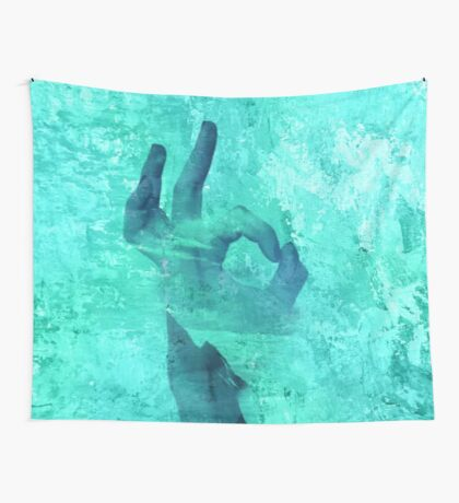 Abstract,turquoise,double exposure, digital photo,manipulated,modern,trendy,rustic,contemporary art Wall Tapestry