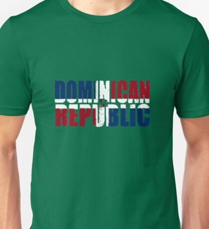 Dominican Republic Font With Dominican Flag Unisex T-Shirt