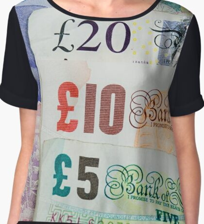 United Kingdom Five, Ten and Twenty Pound Notes Chiffon Top