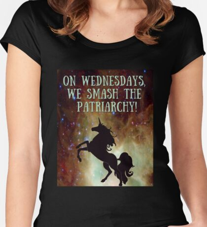 Unicorns Smash Patriarchy! Women's Fitted Scoop T-Shirt