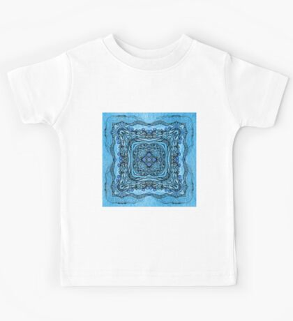 blue garden patttern Kids Tee