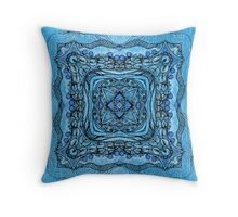 blue garden patttern Throw Pillow