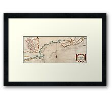 Vintage Map of New England Framed Print