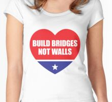Build Bridges Not Walls (Heart) Women's Fitted Scoop T-Shirt