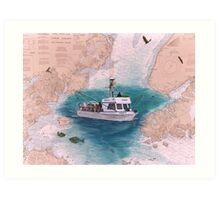 ANNIE Halibut Fish Boat Cathy Peek Nautical Chart Map Art Print