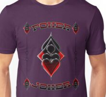 Great Poker Joker Design Spades Hearts Diamonds Club Shiny Bling Overlap Unisex T-Shirt