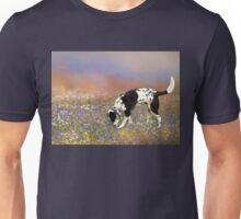 FLORAL FIELD WITH DOG Unisex T-Shirt
