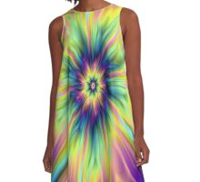 Combustion in Yellow Turquoise and Blue A-Line Dress