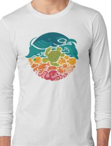 Aquatic Rainbow (light blue) Long Sleeve T-Shirt