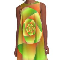 Spiral in Yellow Orange and Green A-Line Dress