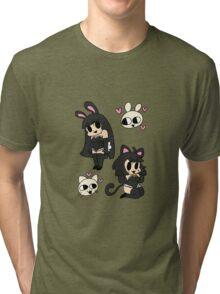 bunny and kitty - black Tri-blend T-Shirt
