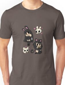 bunny and kitty - black Unisex T-Shirt