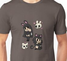 bunny and kitty - black Unisex T-Shirt