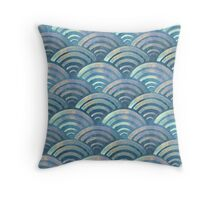 Colorful fish scales pattern Throw Pillow