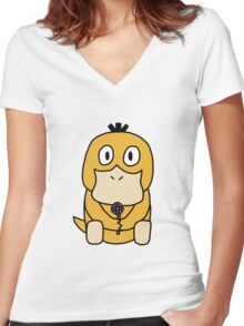 Duck With Flower Women's Fitted V-Neck T-Shirt